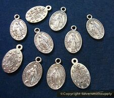 10 Virgin mother mary medals silver plated zinc earring charms pendant cfp081