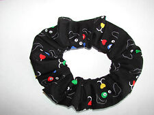 COLORFUL DOG eyes on black fabric hair scrunchie dogs canine puppy scrunchies