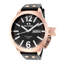 TW Steel CE1021 Men's Canteen 45mm Rose Gold-Tone Black Dial Leather Watch