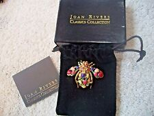 JOAN RIVERS Goldtone BEE Pin Multi Color Tulips & Crystals COLORFUL Free Ship