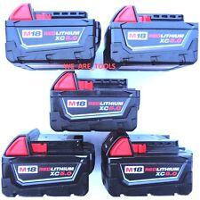 (5) New 18V Milwaukee 48-11-1850 5.0 AH Batteries M18 18 Volt XC 5.0 Red Li-Ion
