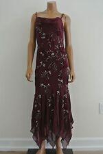 Sue Wong Nocturne Silk Dress Bias Cut Maroon Deco Asymmetrical Hem/4/EUC