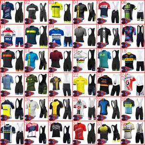 2021 Summer Team Cycling Jersey Bib Shorts Set Mens Short Sleeve Bicycle Suit