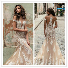 Sexy Nude Off Shoulder Wedding Dress Champagne Mermaid V Neck Lace Bridal Gown