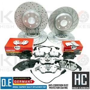 FOR  AUDI A4 ALLROAD B8 FRONT REAR DRILLED BRAKE DISCS MINTEX PADS WIRE SENSORS