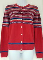 Womens Country Rose Pink Fairisle 50s Vintage Landgirl Style Knitted Cardigan M.