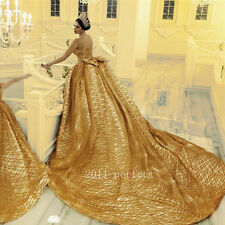 Luxury Grain Gold Arabic Wedding Dresses Bridal Ball Gowns Cathedral Train 2017