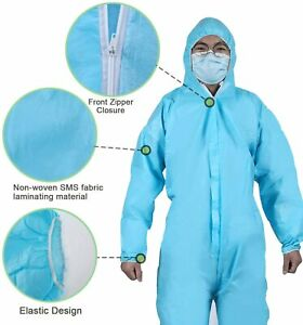 Disposable Coveralls Protective Safety Clothing - blue bio-suits