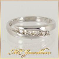 Solid 9k 9ct White gold Natural Diamond Dress Ring Size M 0.14ct TDW Diamonds