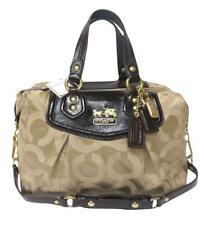 NWT Coach Madison Audry Tote Khaki Signature & Patent Leather Purse Shoulder Bag