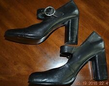 "WILD PAIR- BLACK LEATHER PUMPS- 3"" HEEL- SZ 8.5M- USED ONCE"