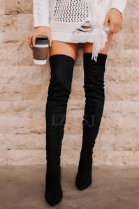 Womens Pointed Toe Zip Stiletto Heels Over Knee High Thigh Boots Shoes Nightclub
