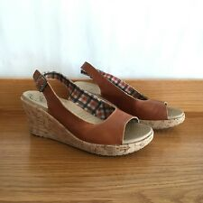 🍁 CROCS brown Leather And Cork Espadrille Slingback Wedge Heels Sandals Sz 39 8