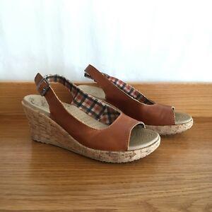 🍁 CROCS brown Leather And Cork Espadrille Slingback Wedge Heels Sandals Sz 38 7
