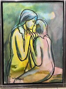 """Carlos Santiago, Aruyo (Cuddle), Mixed Media On Canvas, Puerto Rico Art, 48""""x36"""""""