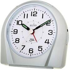 Acctim 14117 Europa Silent Sweep Non Ticking Alarm Clock - Silver