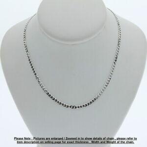 Genuine Brand new 9K Fine Italian White Gold Curb Chain Necklace 45cm - 80cm