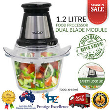 Electric Food Chopper Processor Dual Stainless Steel Blade with Glass Bowl Black