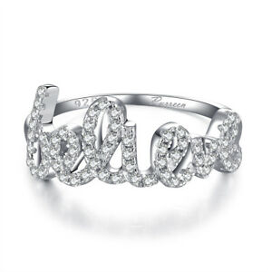 Women 925 Silver Plated LOVE Letter Shaped Ring Bridal Wedding Jewelry Gift
