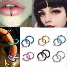 Fake Cheater Clip On Helix Septum Ear Stud Nose Ring Hoop Eyebrow-Lip Ear Cuff