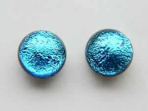 enuine Hand Crafted Dichroic Glass Stud Earrings - Kingfisher Blue