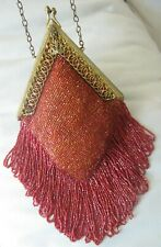 Antique Gold Filigree Frame Tan Crochet Iridescent Red Bead Long Fringe Purse