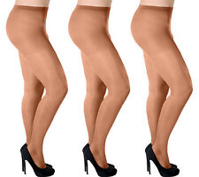 Aurellie Women Plus Size Sheer 20 Denier Lycra Tights 3 Colours 3 Packs UK 16-22