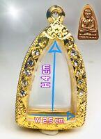 Empty case frame Phra LP Tuad Thuad Gold Micron Gem Thai Amulet Pendant 2.5*4 cm