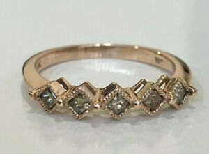 10k solid gold & .40CT Diamond eternity band ring 2.58g size Q -  8