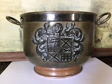 Antique Victorian, Georgian Brass Copper Coat Of Arms Coal Wood Bucket, Planter