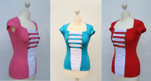 Shirt T-Shirt Oberteil rosa rot türkis bunt S/M M/L  Kurzarm Sommershirt