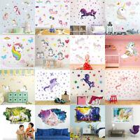 Unicorn Wall Sticker Cartoon Animal Wall Decals Girls Boys Room Baby Room Decor