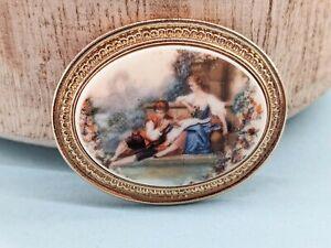 Vintage Large Ceramic Limoges Lovers Printed Brooch Shall Lapel Pin