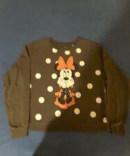 Disney MINNIE MOUSE Gray Pullover Sweatshirt Long Sleeve Size XL Girls Sm Women'