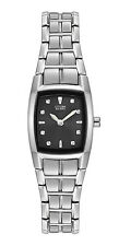 CITIZEN WOMEN'S $250 ECO-DRIVE SILVER WATCH, BLACK TONNEAU DIAL   EW9700-56E