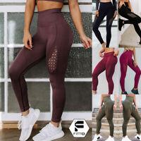 Women High Waist Seamless Yoga Leggings Stretch Fitness Workout Pants Trouser AM