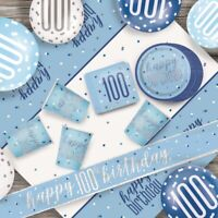Blue Glitz 100th Birthday Party Supplies Tableware, Decorations, Balloons