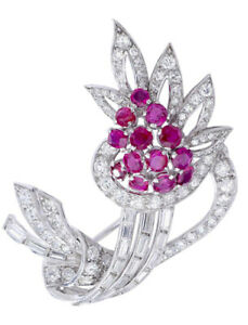 2.50ct Round Baguette Diamond 14K Solid White Gold Ruby Gemstone Brooch Pin