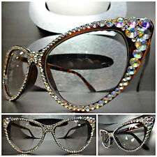 VINTAGE 60's CAT EYE Style Clear Lens EYE GLASSES Iridescent Crystals Handmade