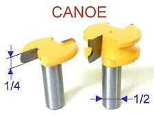 """2 pc 1/2"""" Shank 1/4"""" Diameter Flute & Bead Canoe Router Bit Set S"""