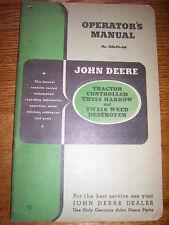 Vintage John Deere Operators Manual -Tractor Harrow # Th 224