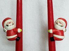 Vintage Set of 2 Santa Ceramic Taper Candle Huggers