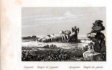 Stampa antica AGRIGENTO statua gigantesca Telamone Tempio di Zeus 1834 Old print