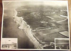 Ancien Cliché Photo old map Affiche scolaire première traversée en avion