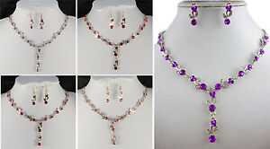 PURPLE, LILAC, PINK, HOT PINK OR RED CRYSTAL NECKLACE & EARRINGS SET