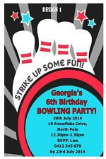 1 x BOWLING PARTY CHILDRENS BIRTHDAY PERSONALISED INVITATIONS INVITES + MAGNETS