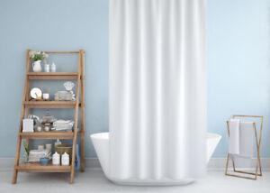 Rideau de douche en tissu blanc de salle de bain en cinq tailles différentes