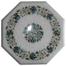 """12""""x12"""" Exclusive White Marble Coffee Table Top Floral Inlay Art Outdoor Decor"""