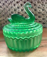 Jeanette Glass Green Powder Jar Lipstick Holder Trinket Box Swan Lid Free Ship!