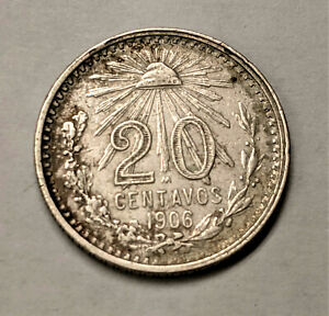 MEXICO 1906 M  20 CENTAVOS COIN,  EXTRA FINE NICE COIN !! BETTER DATE